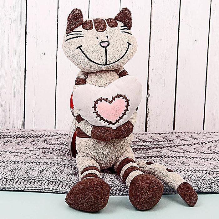 Мягкая игрушка «Кот Полосатик с сердцем», 33 см - фото 105610590