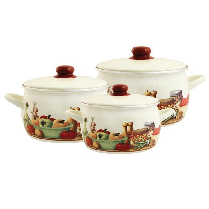 Набор посуды 6 предметов «Вилладжо»: 2,2 л, 4,0 л, 5,3 л с металлическими крышками