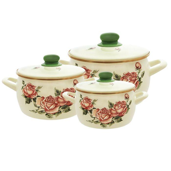 Набор посуды 6 предметов «Роза»: 2,2 л, 4,0 л, 5,3 л, с металлическими крышками