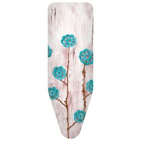 Чехол для гладильной доски «Ажурные цветы». цвет бирюзовый, 130х50 см, хлопок