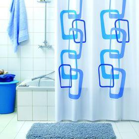 Штора для ванной Quadry, 180 х 200 см, цвет синий