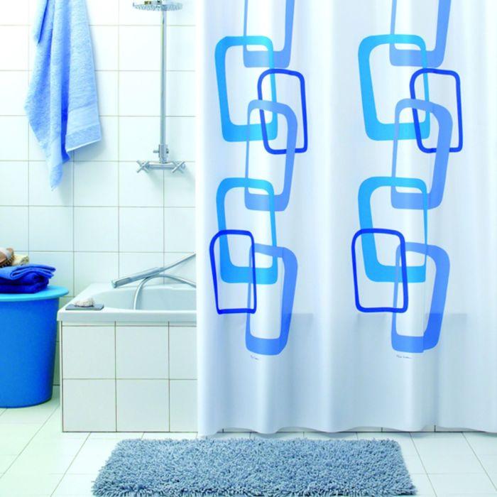 Штора для ванной Quadry, 180х200 см, синий