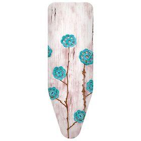 Чехол для гладильной доски «Ажурные цветы», цвет бирюзовый, 140 х 55 см, хлопок