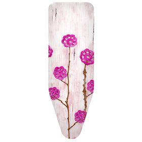Чехол для гладильной доски «Ажурные цветы», цвет розовый, 140 х 55 см, хлопок