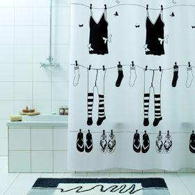 Штора для ванной Rue de Papillion, 180 х 200 см, чёрный