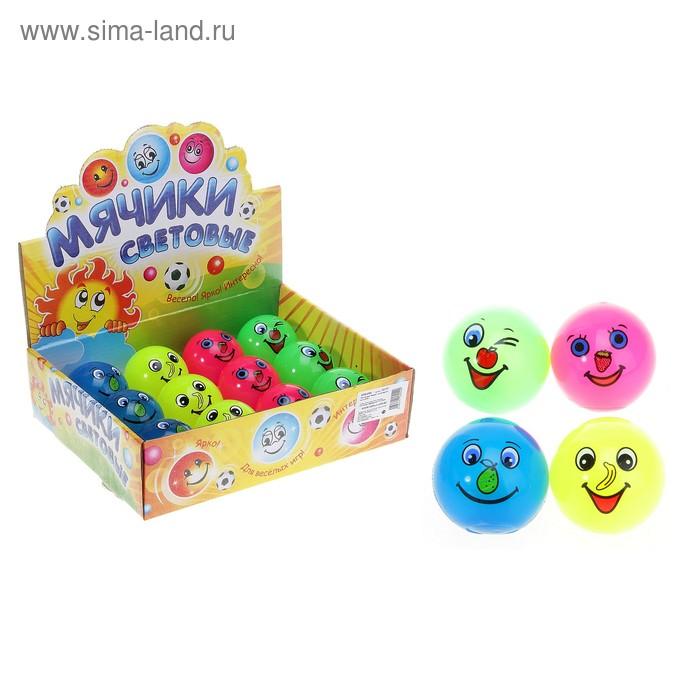 """Мяч световой """"Рожицы"""", на носу фрукты 5,5 см, цвета МИКС"""