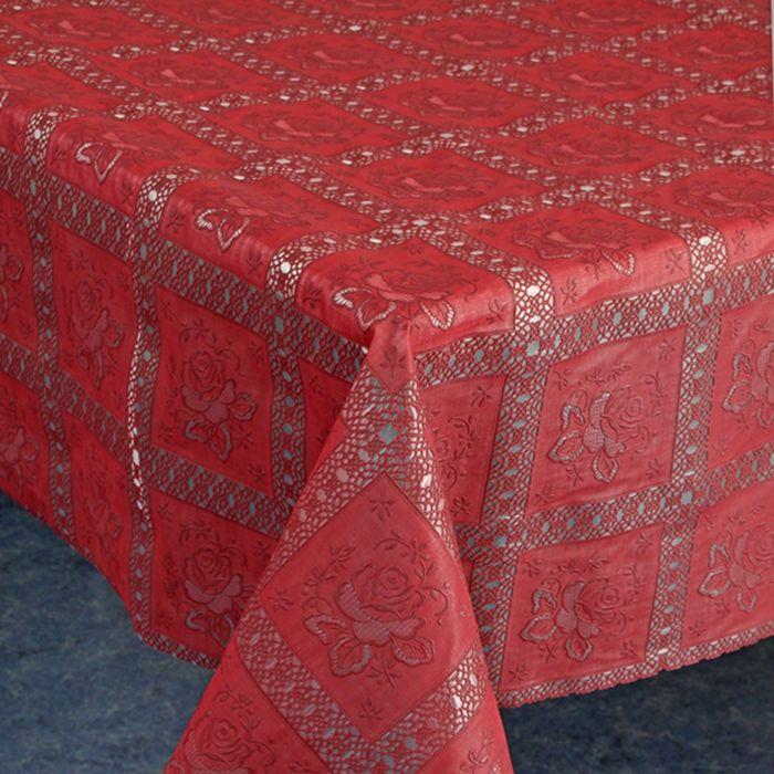 Клеёнка столовая «Ажурная», 135 см, рулон 15 пог. м., цвет красный