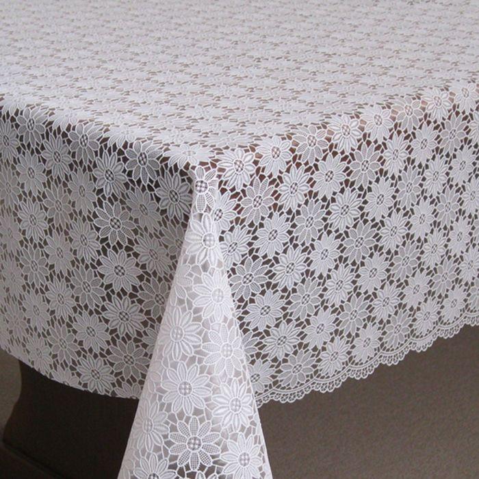 Клеёнка столовая «Ажурная», 138 см, рулон 15 пог. м., цвет белый