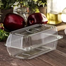 Контейнер одноразовый с неразъёмной крышкой, прямоугольный, 400 мл, 21,8×11,5×8,4 см, 280 шт/уп