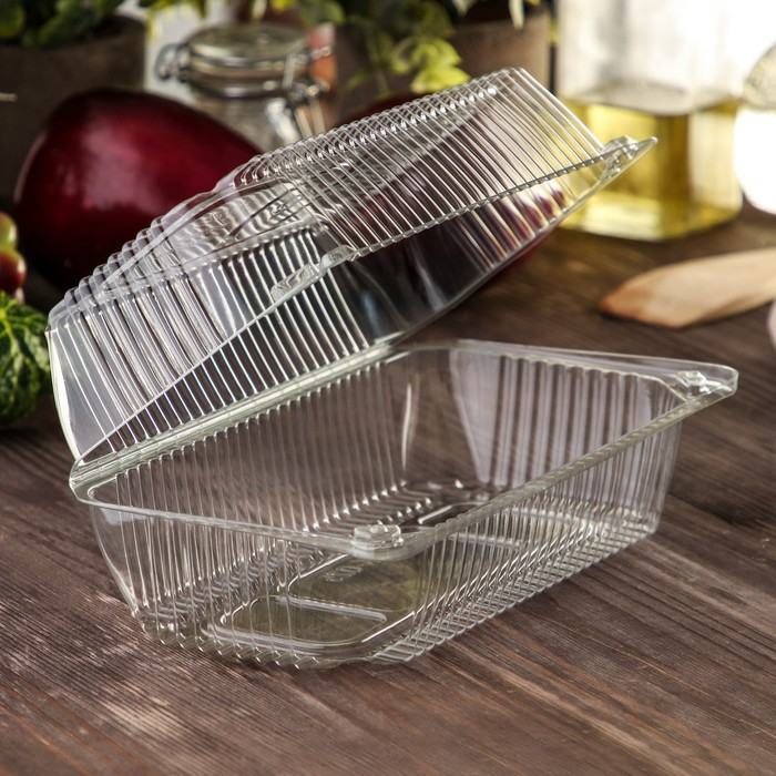 Контейнер с неразъемной крышкой, прямоугольный, 21,8×11,5×8,4 см