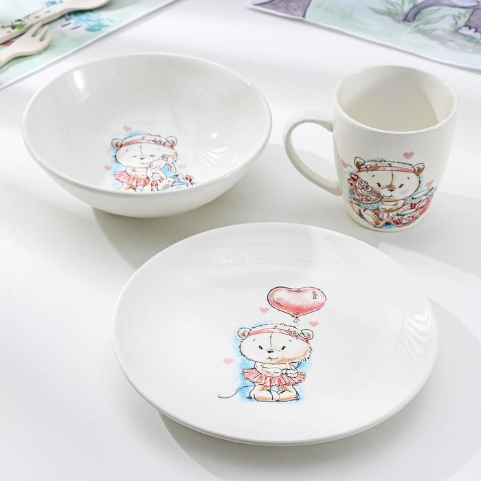 """Набор посуды """"Кроха"""", 3 предмета: тарелка 17,5 см, миска 250 мл (17,5 см), кружка 260 мл"""