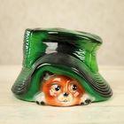 """Фигура """"Котик под шляпой"""", глянец, зелёный"""