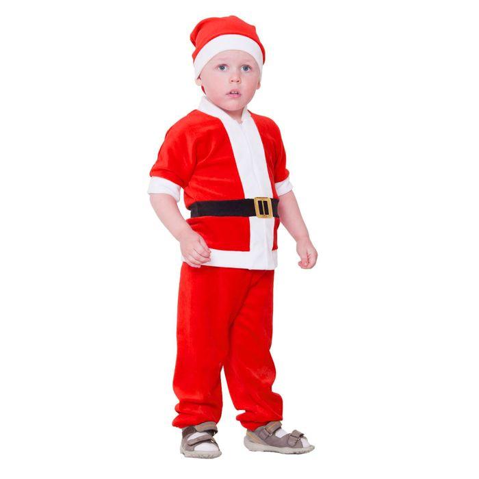 """Карнавальный костюм от 1,5-3-х лет """"Дед Мороз"""", велюр, куртка с ремнём, колпак, штаны, рост 86-92 см, цвета МИКС - фото 1746880"""