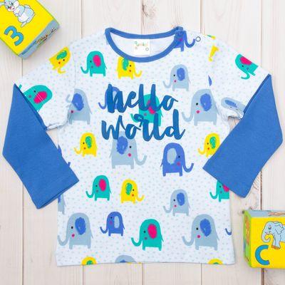 Кофточка детская, рост 56, цвет синий, принт слоники