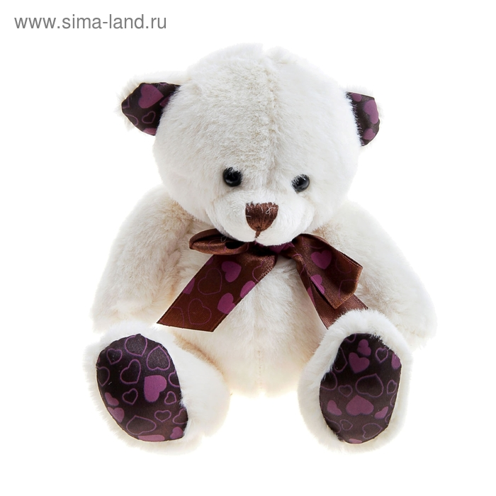 """Мягкая игрушка """"Мишка с бантом"""", на лапках и ушках сердечки, цвета белый"""