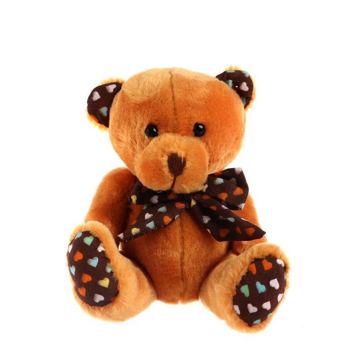 """Мягкая игрушка """"Мишка с бантом"""", на лапках и ушках сердечки, цвета коричневый"""