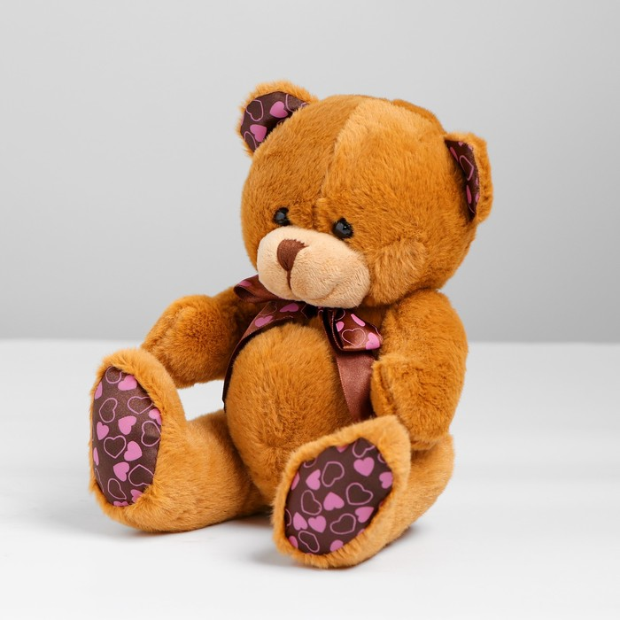 Мягкая игрушка «Мишка с бантом», на лапках и ушах сердечки, цвета МИКС
