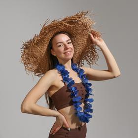 Гавайское ожерелье «Цветочки», синий