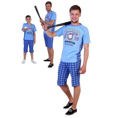 Комплект мужской (джемпер с коротким рукавом, шорты) Бейсбол цвет голубой, р-р 52
