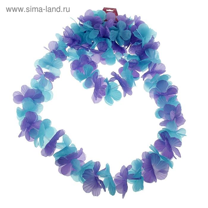 """Гавайский набор """"Цветочки"""", ( ожерелье, венок 2 браслета), цвет голубой"""