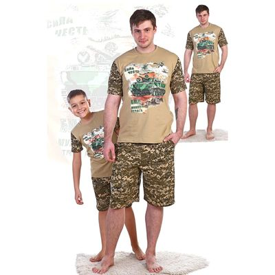 Комплект мужской (джемпер с коротким рукавом, шорты) Десант цвет камуфляж, р-р 56