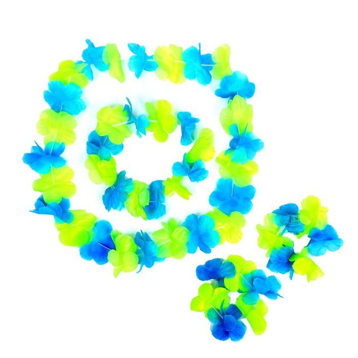 """Гавайский набор """"Цветочки"""", ( ожерелье, венок 2 браслета), цвет зеленый"""