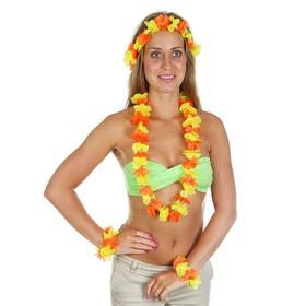 """Гавайский набор """"Цветочки"""", ( ожерелье, венок 2 браслета), цвет желтый"""