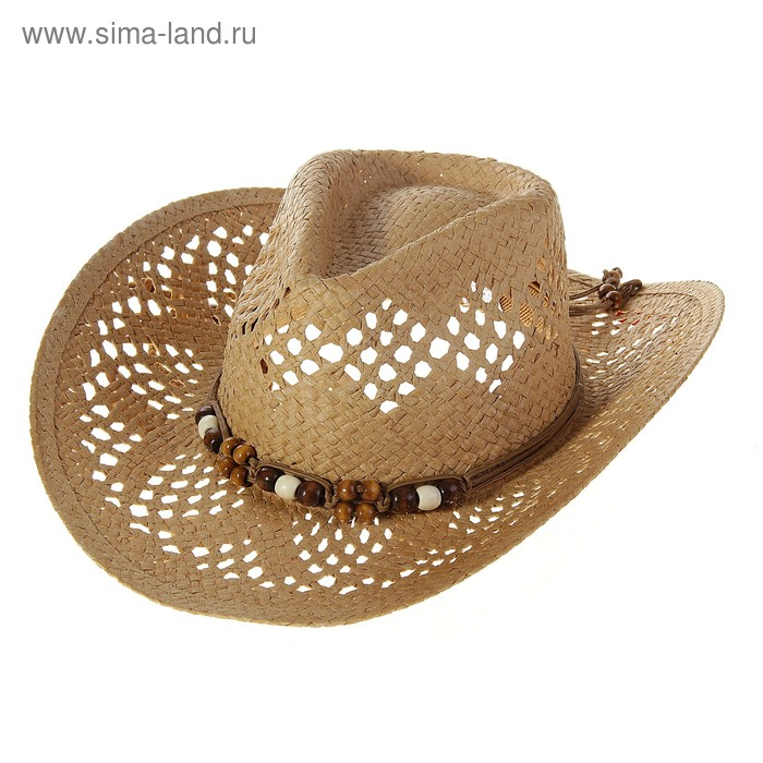 """Шляпа """"Ковбойская"""", в сеточку, кант с ожерельем"""