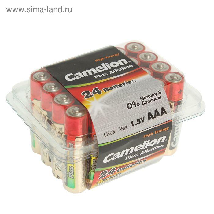 Батарейка алкалиновая Camelion LR03-24BOX (LR03-PB24), 1.5В, бокс, 24 шт.
