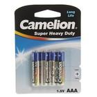 Батарейка Солевая  Camelion Super Heavy Duty, AAA, R03-4BL, блистер, 4 шт.