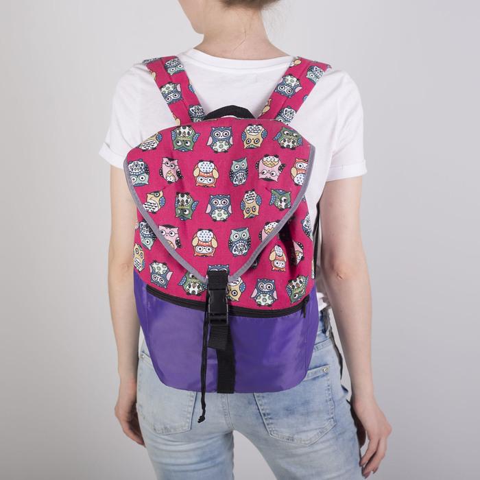 Рюкзак молодёжный-торба, отдел на клапане, наружный карман, цвет фиолетовый/розовый - фото 415625480