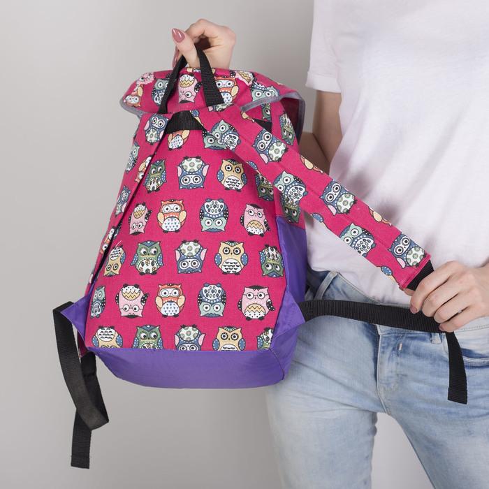 Рюкзак молодёжный-торба, отдел на клапане, наружный карман, цвет фиолетовый/розовый - фото 415625481
