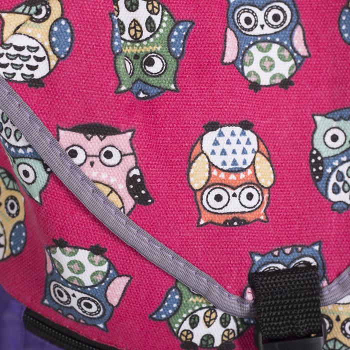 Рюкзак молодёжный-торба, отдел на клапане, наружный карман, цвет фиолетовый/розовый - фото 415625482