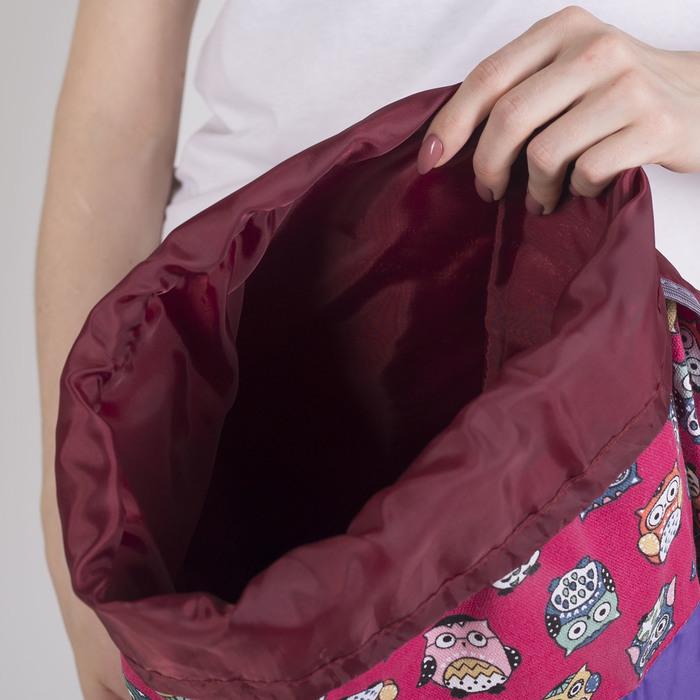 Рюкзак молодёжный-торба, отдел на клапане, наружный карман, цвет фиолетовый/розовый - фото 415625483