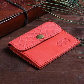 Футляр для монет на клапане, 1 отдел, наружный карман, цвет красный Ош