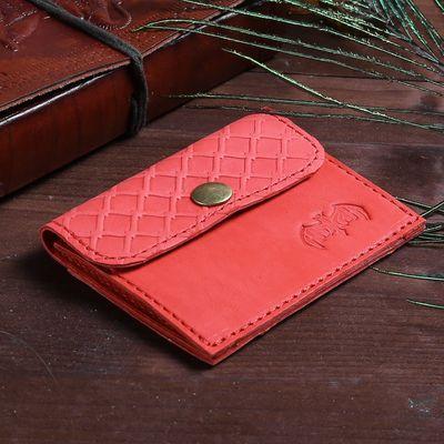 Футляр для монет на клапане, 1 отдел, наружный карман, цвет красный