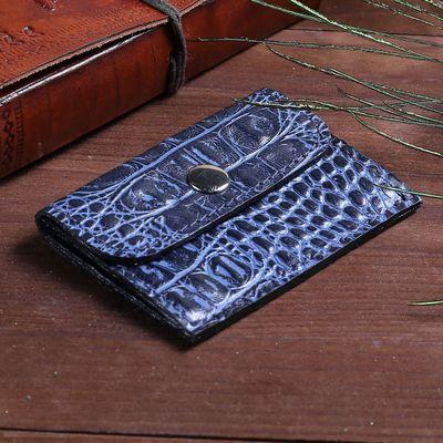 Кошелёк для монет на клапане, 1 отдел, наружный карман, цвет синий