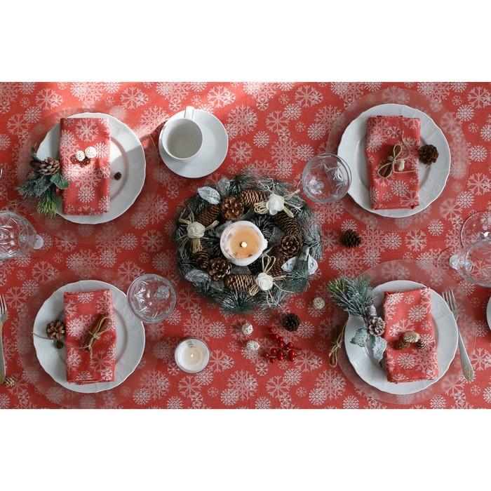 """Столовый набор """"Этель"""" Снежинки красные скатерть 150х240 см, салф. 40х40 см - 10 шт, хл.100%, ВМГО"""