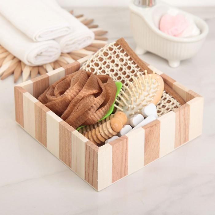 Набор банный 5 предметов: 2 мочалки, расческа, зеркало, разделитель для пальцев