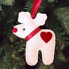 """Новогодняя ёлочная игрушка, Набор для создания подвески из фетра """"Олень с сердечком"""""""