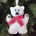 """Новогодняя ёлочная игрушка, Набор для создания подвески из фетра """"Полярный мишка"""""""