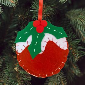 Новогодняя ёлочная игрушка, Набор для создания подвески из фетра «Шарик с рябинкой»
