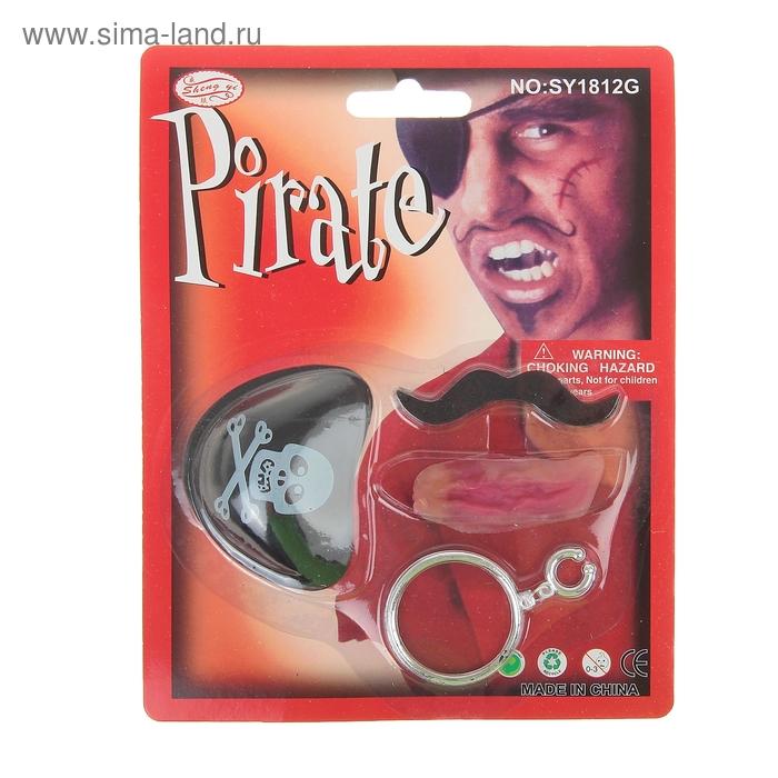 Набор пирата 4 предмета: наглазник, усы, шрам, клипса