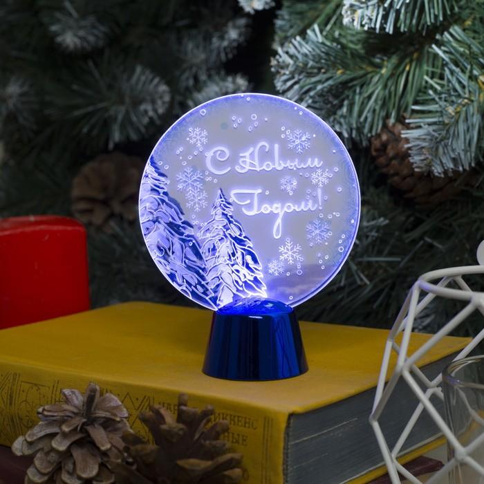 """Подставка с динамикой """"Елки"""", 11.5 см, (батарейки в компл.), 2 LED, БЕЛЫЙ"""