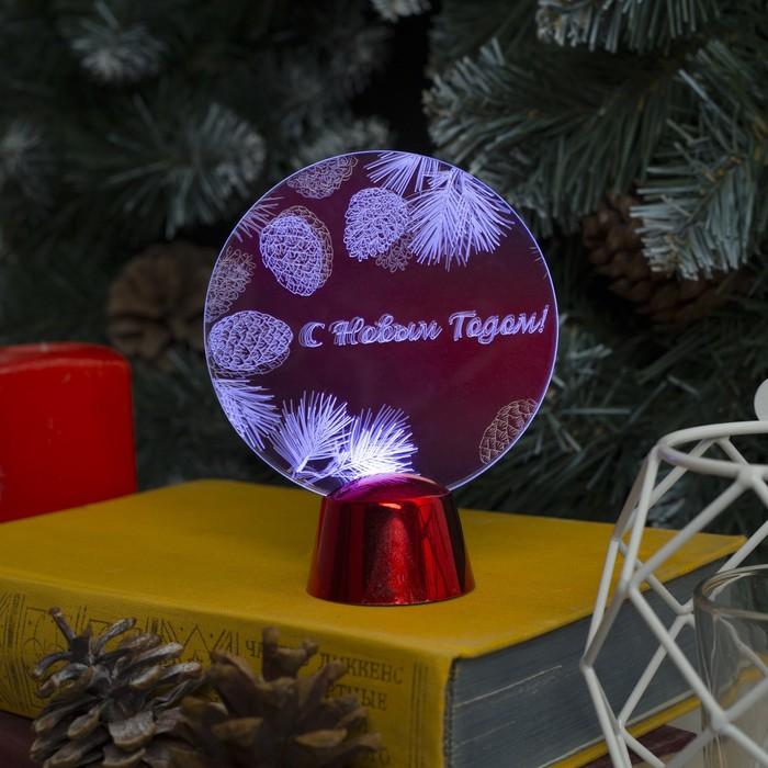 """Подставка с динамикой """"С Новым Годом"""", 11.5 см, (батарейки в компл.), 2 LED, БЕЛЫЙ"""
