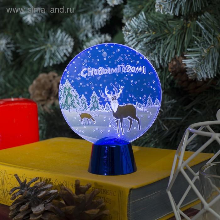"""Подставка с динамикой """"Северный олень"""" (батарейки в комплекте), 11,5 см, 2 LED, БЕЛЫЙ"""
