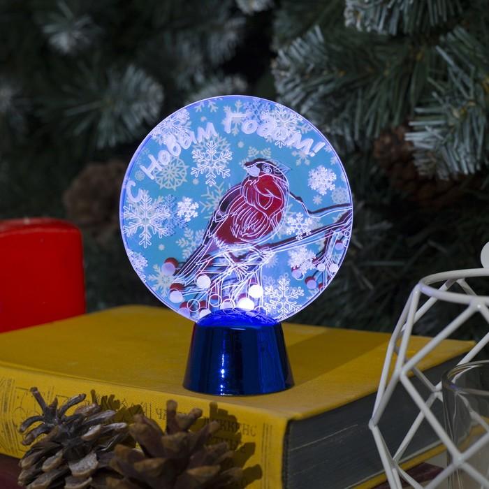 """Подставка с динамикой """"Снегирь"""", 11.5 см, (батарейки в компл.), 2 LED, БЕЛЫЙ"""