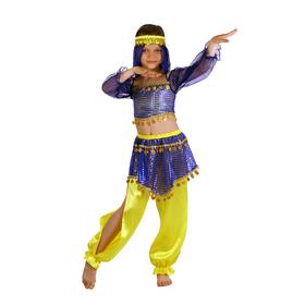 """Карнавальный костюм """"Восточная красавица. Шахерезада"""", топ с рукавами, штаны, повязка, цвет сине-жёлтый, р-р 28, рост 98-104 см"""