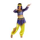 """Карнавальный костюм """"Восточная красавица. Шахерезада"""", топ с рукавами, штаны, повязка, цвет сине-жёлтый, р-р 34, рост 134 см"""