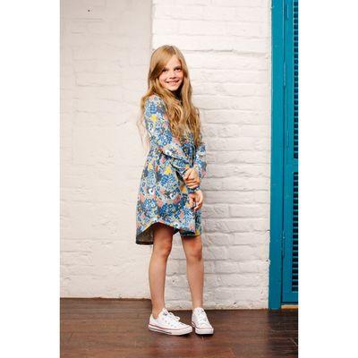 Платье для девочки, рост 98 см, принт голубой 151-329-37